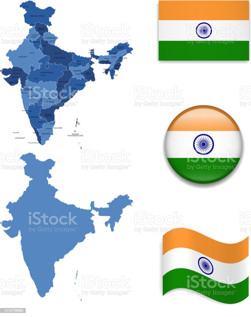 India Map and Flag Collection vector art illustration
