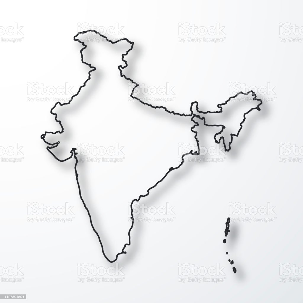 India Map Black Outline With Shadow On White Background Stock Vector ...