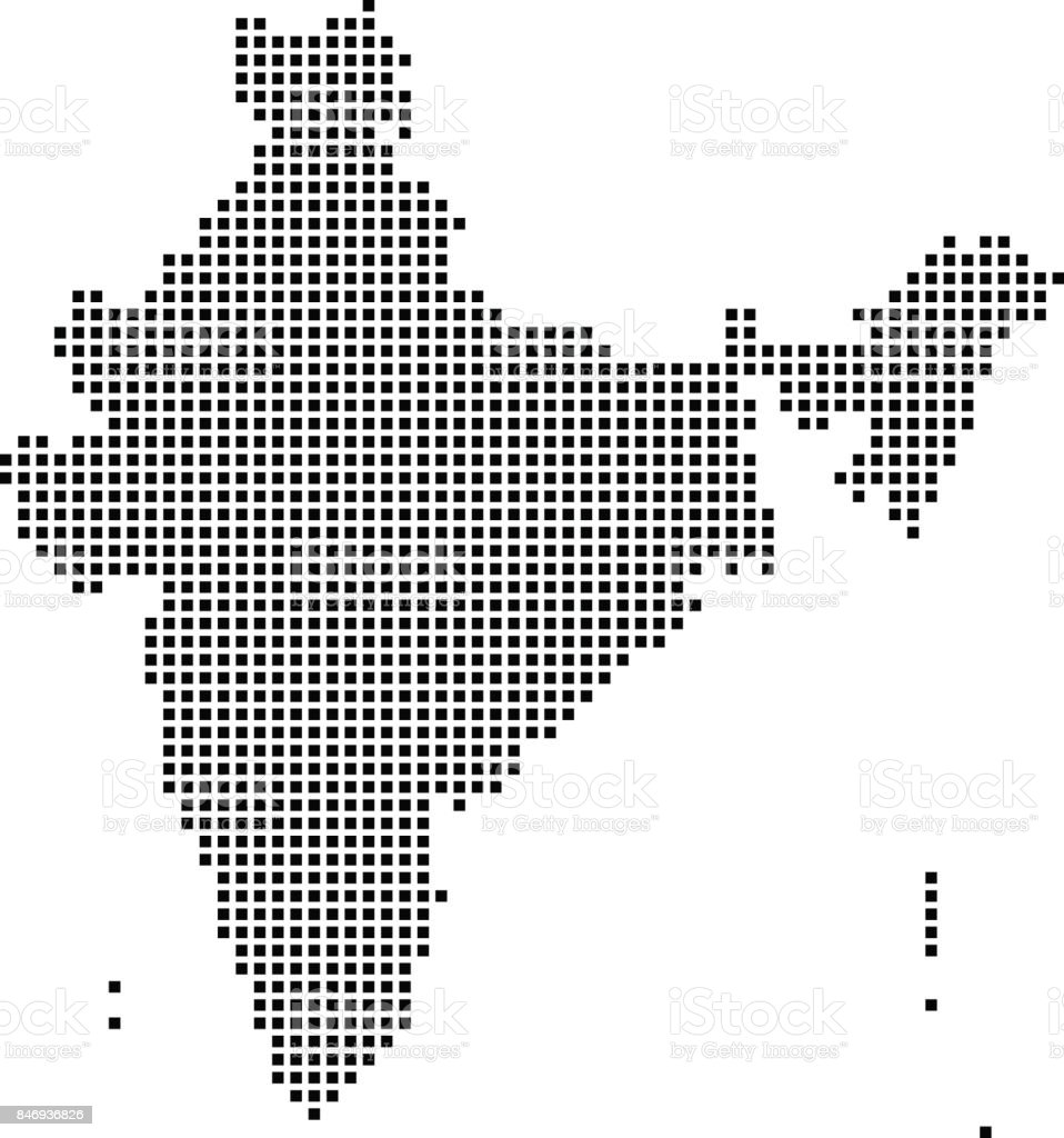 India Map Dots Dotted India Map Vector Outline Highly Detailed - India map vector