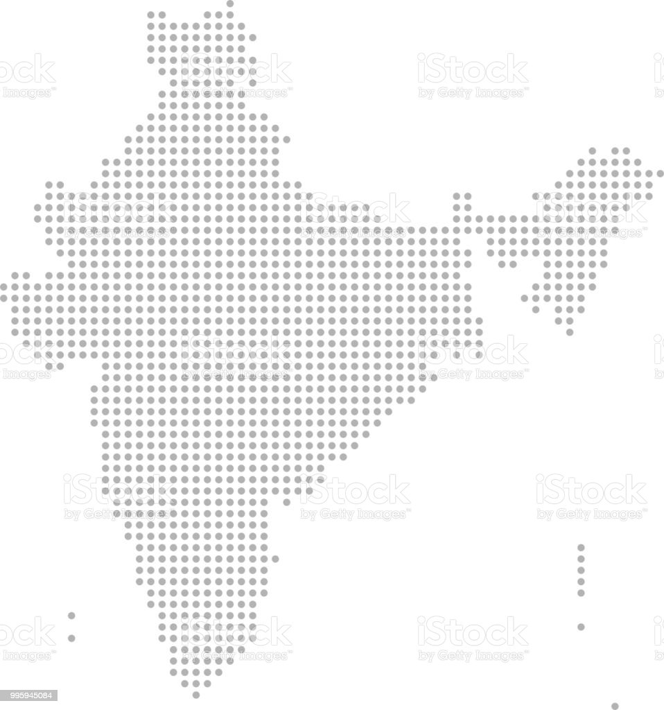India Map Dots Vector Outline Dotted Map Point Patterns Map Faded ...