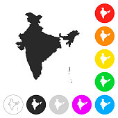 India map - Flat icons on different color buttons