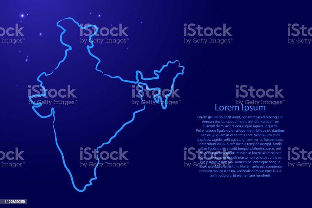 India map from the contour blue brush lines and glowing stars on dark...
