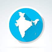 India map icon, Flat Design, Long Shadow