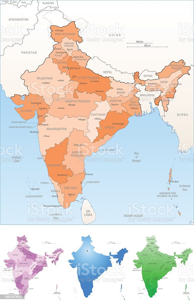 India map in four different colors royalty-free stock vector art