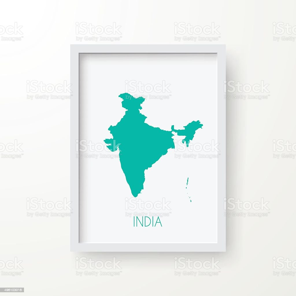 India Map In Frame On White Background Stock Vector Art & More ...