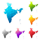 Set of 6 India maps created in a Low Poly style, isolated on a blank background. Modern and trendy polygonal mosaic with beautiful color gradients (colors used: Blue, Green, Orange, Yellow, Red, Pink, Purple, Black, Gray). Vector Illustration (EPS10, well layered and grouped). Easy to edit, manipulate, resize or colorize.