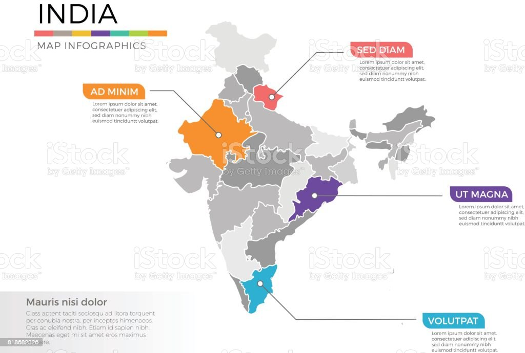 India Map Infographics Vector Template With Regions And Pointer ...