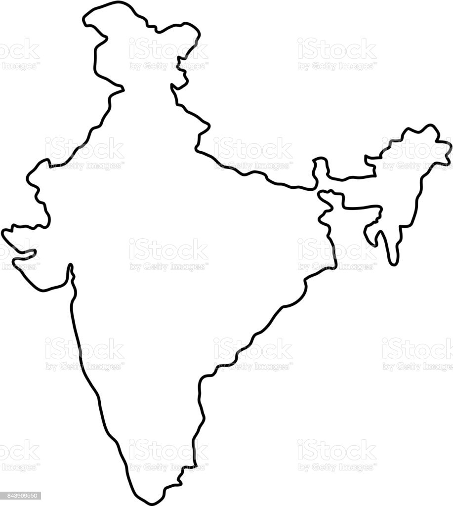 India map of black contour curves of vector illustration vector art illustration