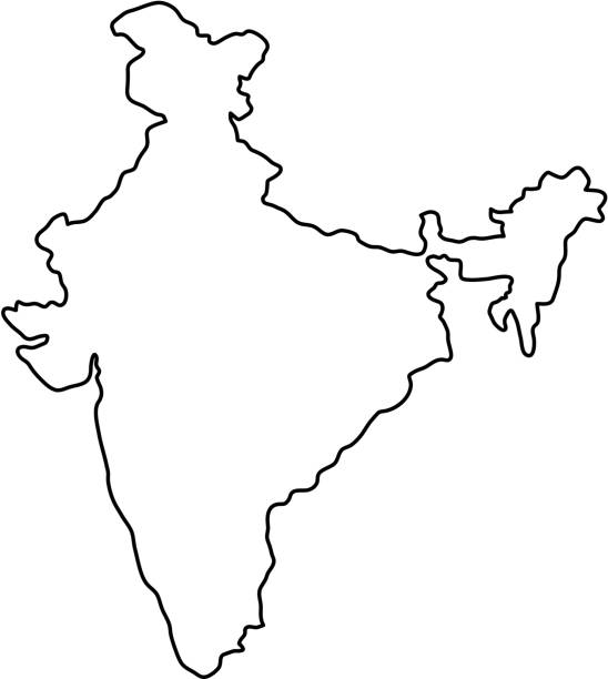 india map of black contour curves of vector illustration - indian stock illustrations, clip art, cartoons, & icons