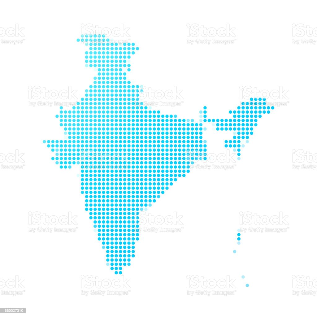 India map of blue dots on white background vector art illustration