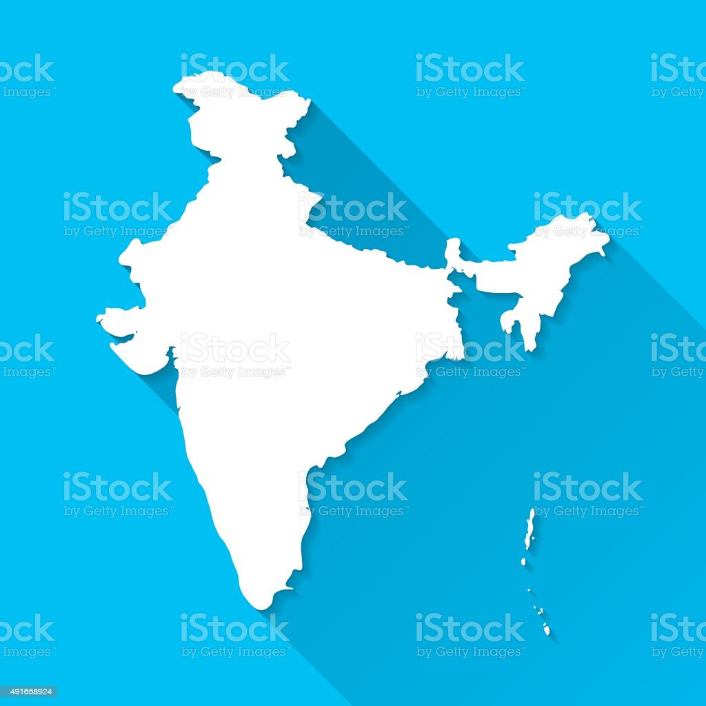 India Map on Blue Background, Long Shadow, Flat Design vector art illustration
