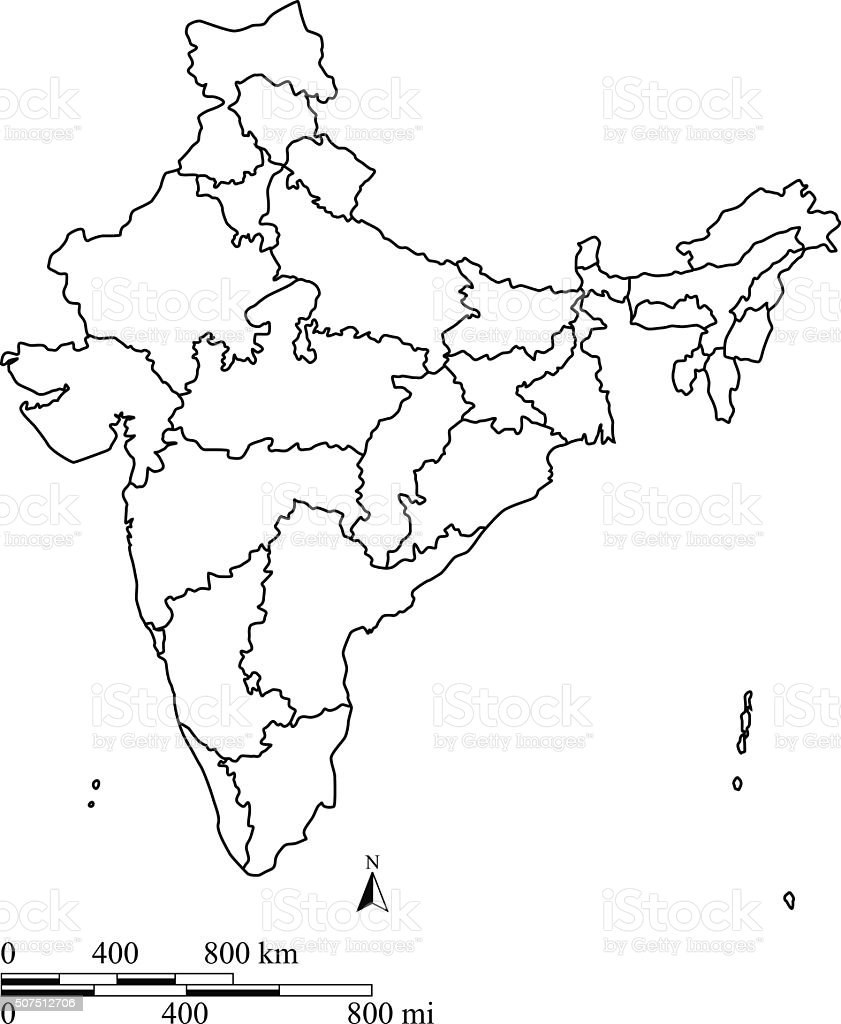 India Map Outline Vector With Scales In A Blank Design Stock Vector