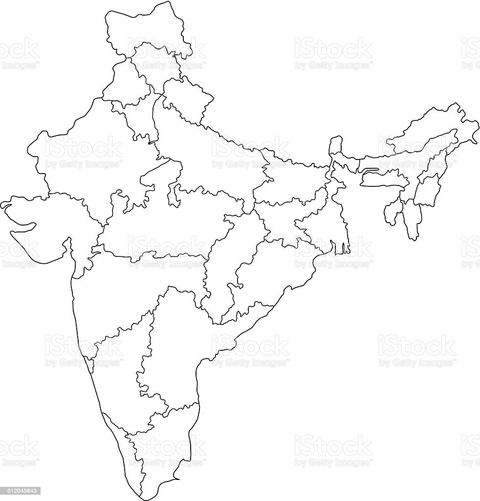 India Map Outline White Background Stock Vector Art More Images Of