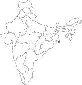 India map outline white background
