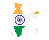 India Map with Flag Infographic Vector