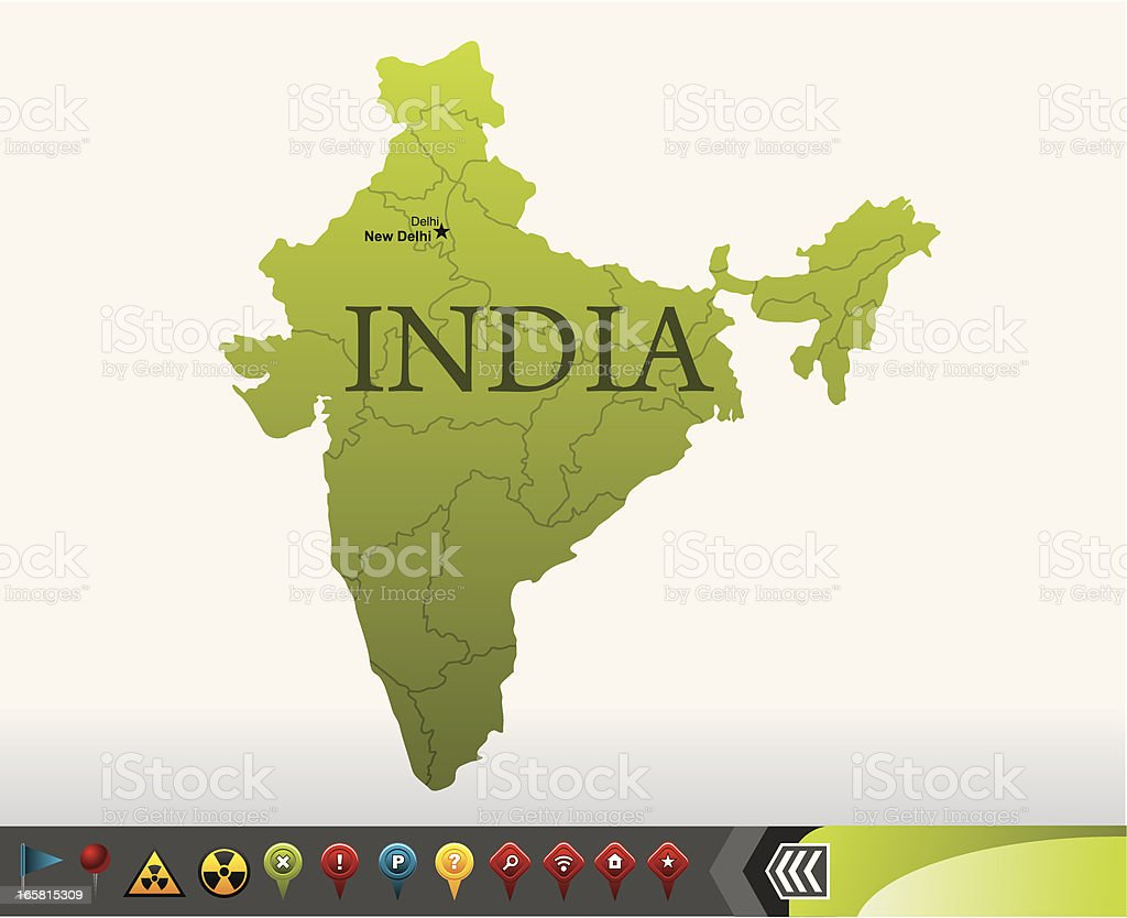 India map with navigation icons royalty-free stock vector art
