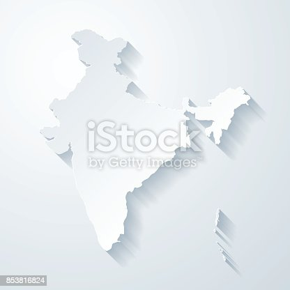 istock India map with paper cut effect on blank background 853816824