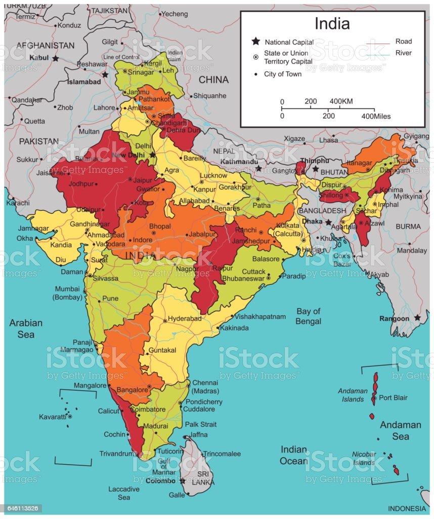 India map with selectable territories. Vector vector art illustration