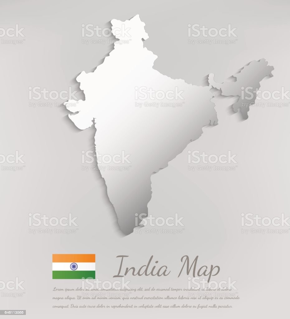 India map with shadow effect. Vector vector art illustration