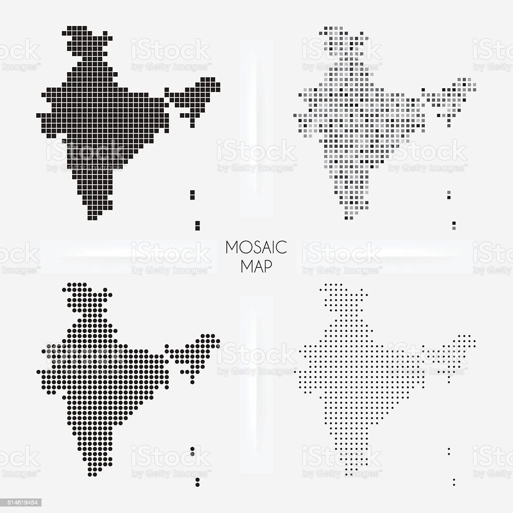 India maps - Mosaic squarred and dotted vector art illustration