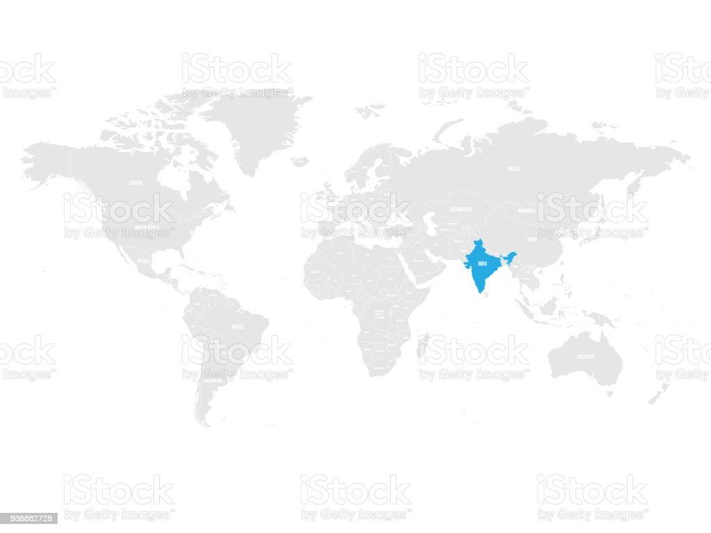 Mapa De La India En El Mundo.Ilustracion De Caracterizado Por Azul En El Mapa Politico