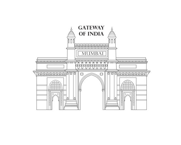 India, Mumbai city. Indian gateway famous landmark. vector art illustration