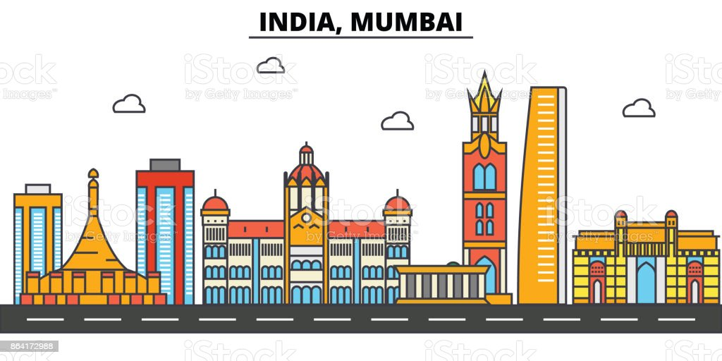 India, Mumbai. City skyline architecture, buildings, streets, silhouette, landscape, panorama, landmarks. Editable strokes. Flat design line vector illustration concept. Isolated icons set royalty-free india mumbai city skyline architecture buildings streets silhouette landscape panorama landmarks editable strokes flat design line vector illustration concept isolated icons set stock vector art & more images of apartment