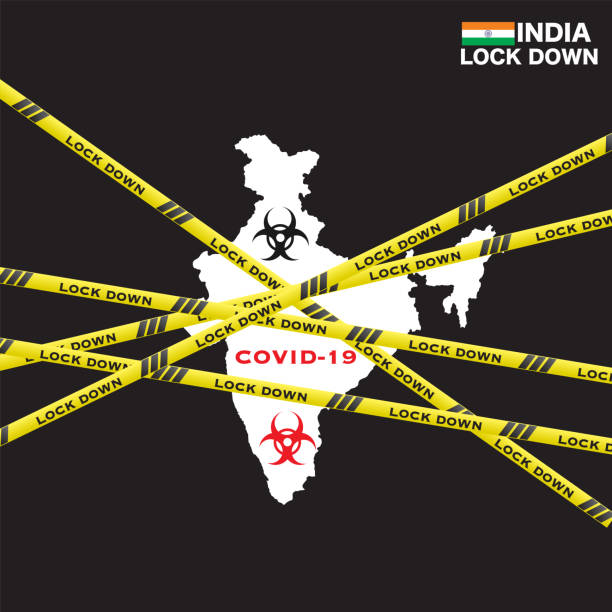 stockillustraties, clipart, cartoons en iconen met india nationale lockdown als gevolg van coronavirus crisis covid-19 ziekte. india onder lockdown met india kaart - lockdown