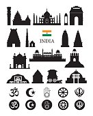 India Objects Icons Silhouette