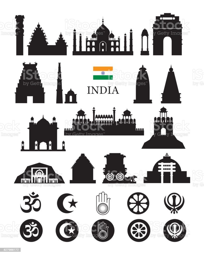India Objects Icons Silhouette vector art illustration
