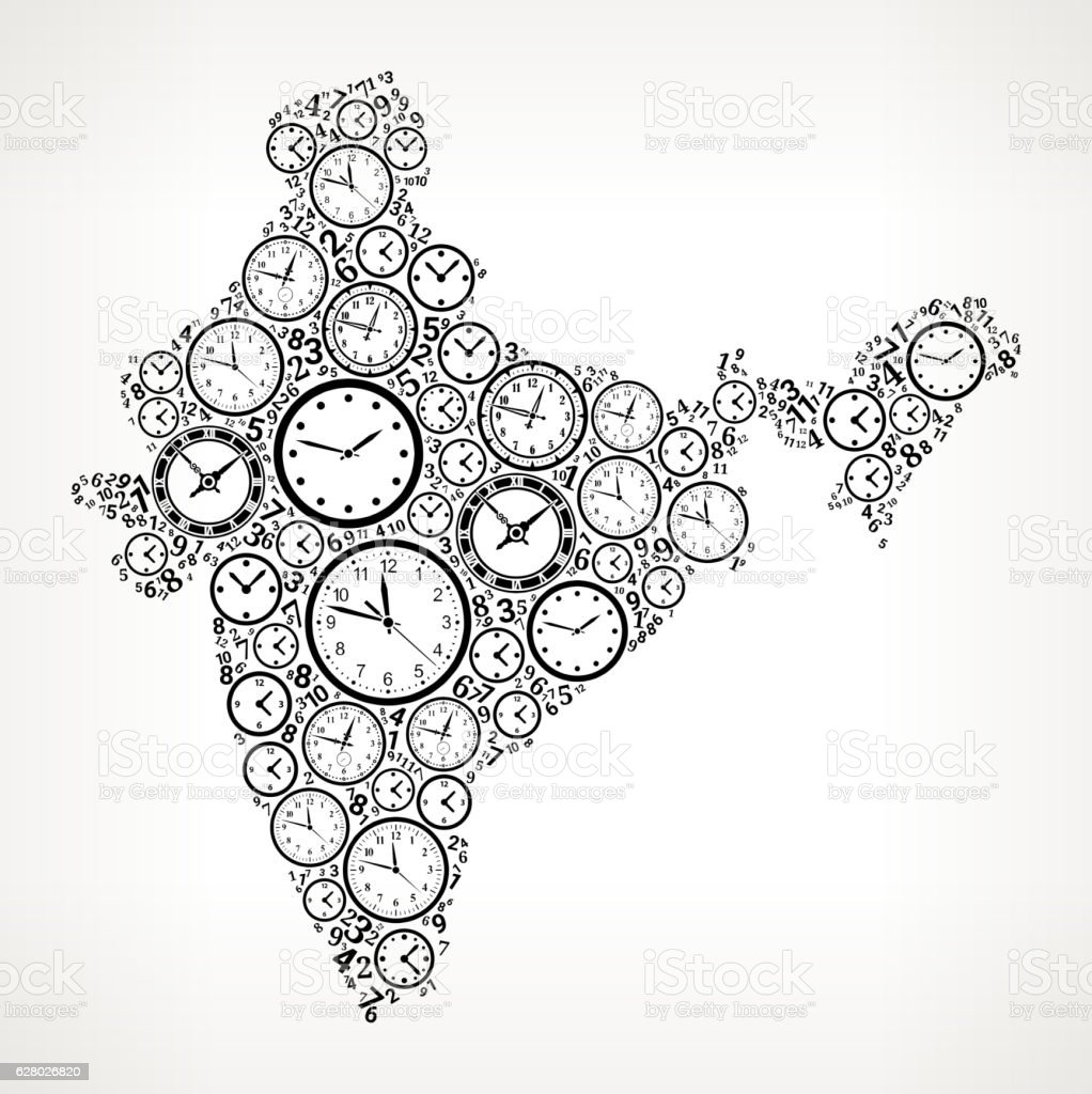 India On Time And Clock Vector Icon Pattern Vektor Illustration ...