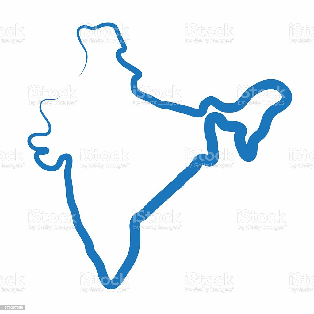 Single Line Vector Art : India outline map made from a single line stock vector art