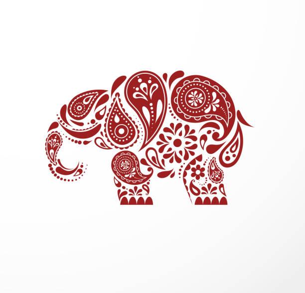 インドパセリ模様のゾウ、オリエンタルインドのアイコンやイラスト - インド料理点のイラスト素材/クリップアート素材/マンガ素材/アイコン素材