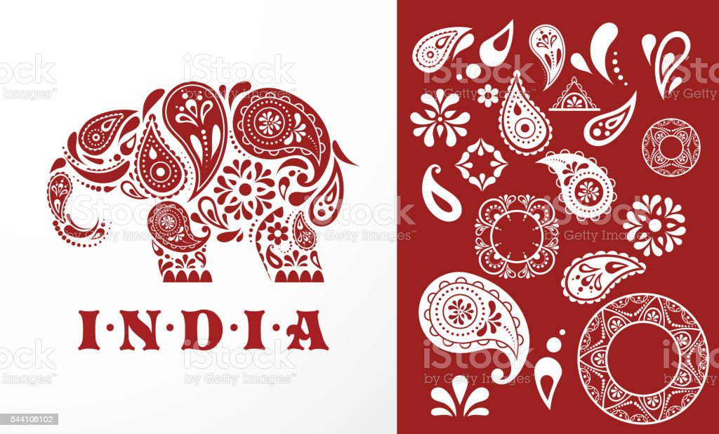 India - parsley patterned elephant, oriental Indian icon and illustration vector art illustration