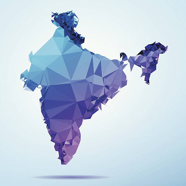 India Polygon Triangle Map Blue Abstract Polygon Triangle vector map of India. File was created in DMesh Pro and Adobe Illustrator on May 15, 2014. The colors in the .eps-file are in RGB. Transparencies used. Included files are EPS (v10) and Hi-Res JPG (5035 x 5035 px). map crystal stock illustrations