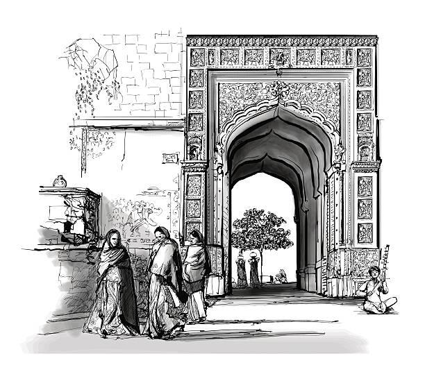 india, rajasthan - jaisalmer - türposter stock-grafiken, -clipart, -cartoons und -symbole