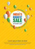 India Republic Day Big Sale Poster Design Layout Template with Discount Tag Vector Illustration