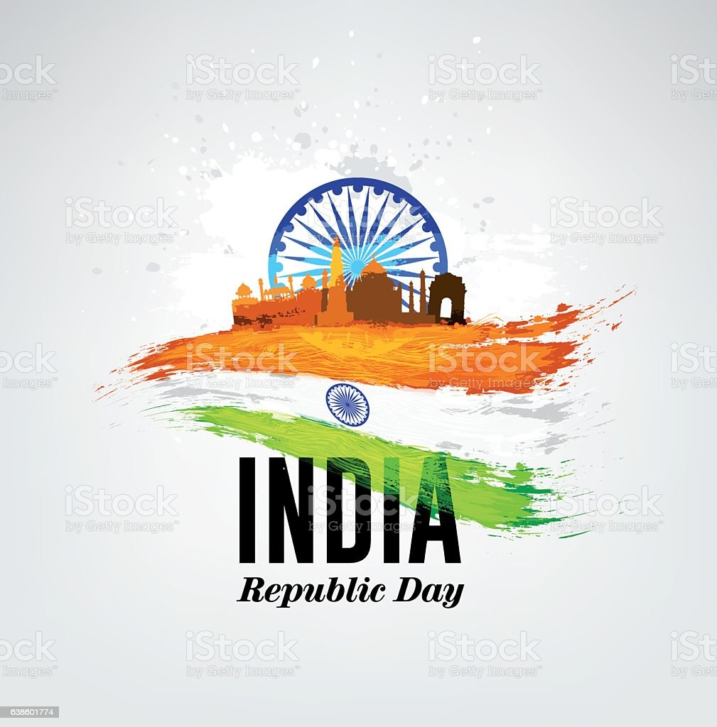 India Republic Day Celebration on January 26. vector art illustration