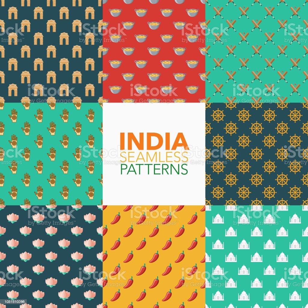 Jeu d'échantillons sans soudure d'Inde - Illustration vectorielle