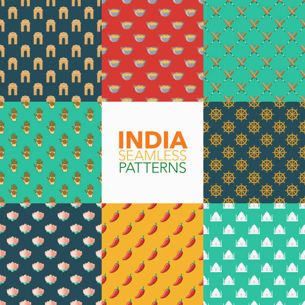 india seamless pattern set - indian food stock illustrations, clip art, cartoons, & icons