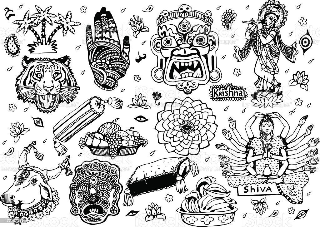 India Set 2 vector art illustration