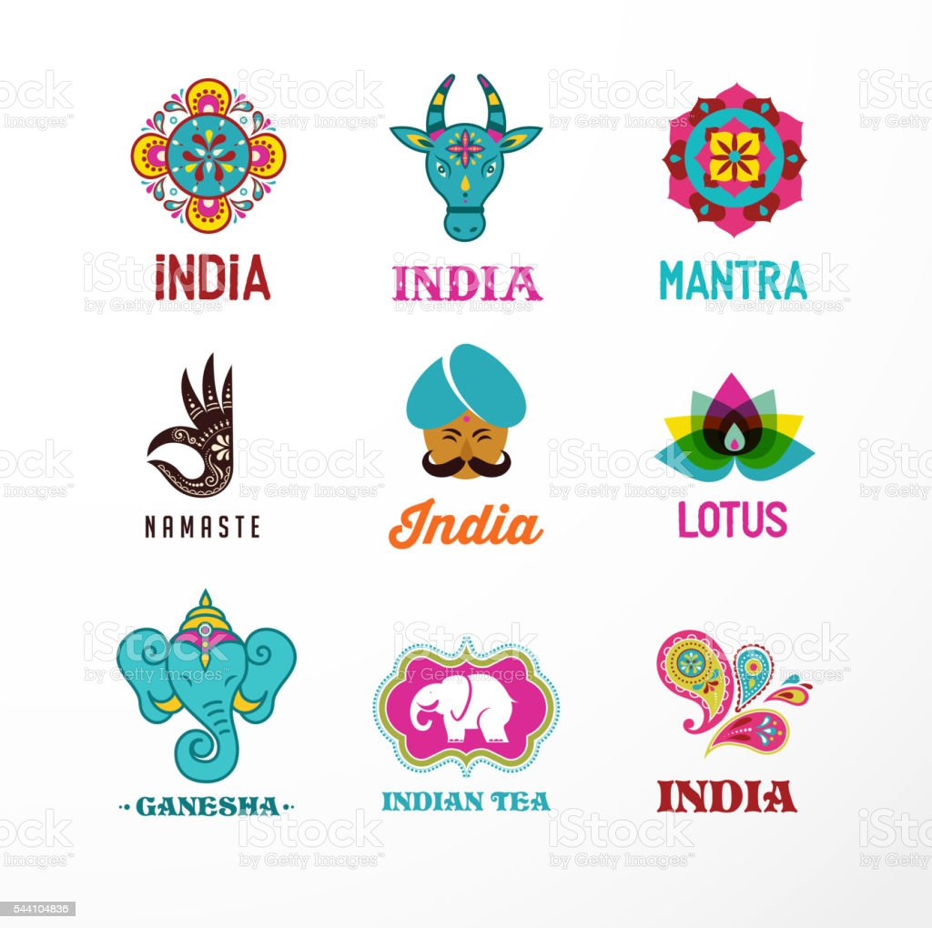 india set of indian icons ganesh lotus elephant stock vector art 544104836 istock. Black Bedroom Furniture Sets. Home Design Ideas