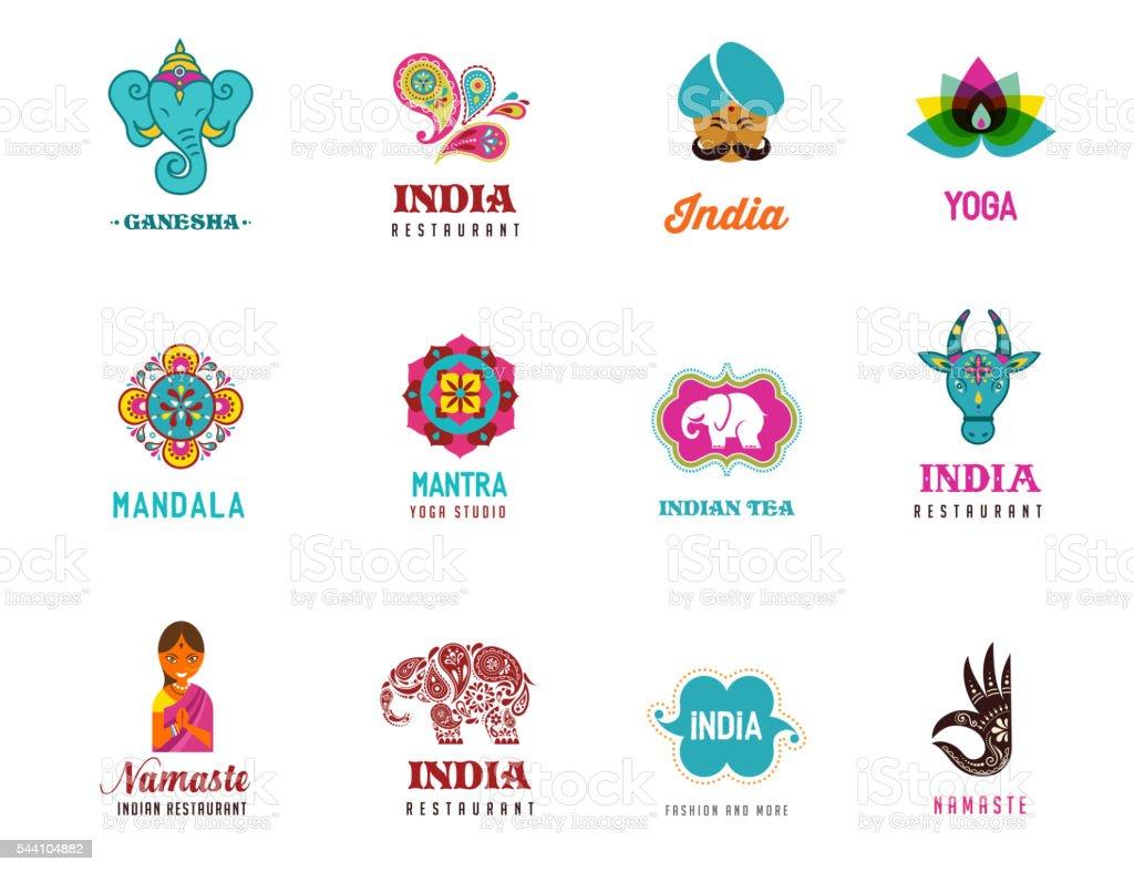 India - set of Indian icons. Ganesh, lotus, elephant vector art illustration