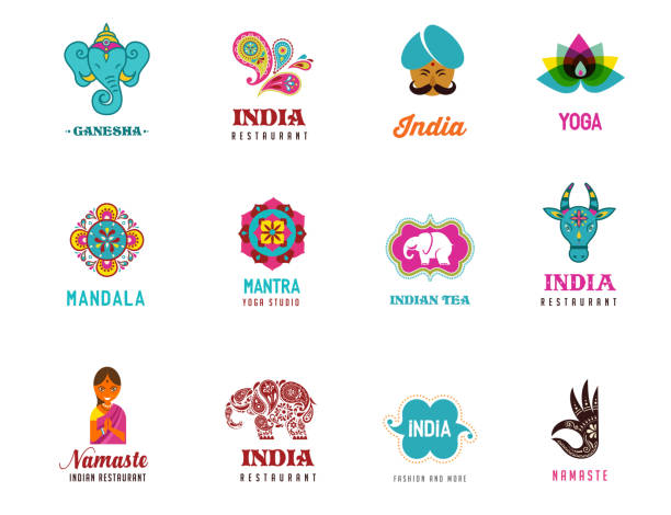india - set of indian icons. ganesh, lotus, elephant - indian food stock illustrations, clip art, cartoons, & icons