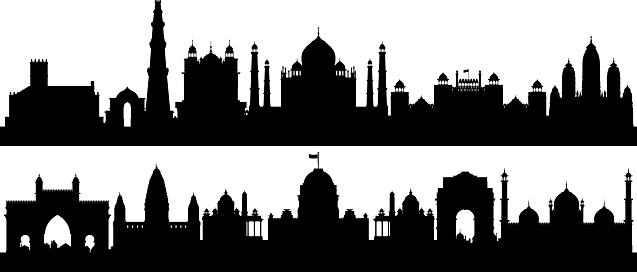 India Skyline Silhouettes (All Buildings Are Detailed, Complete and Moveable)