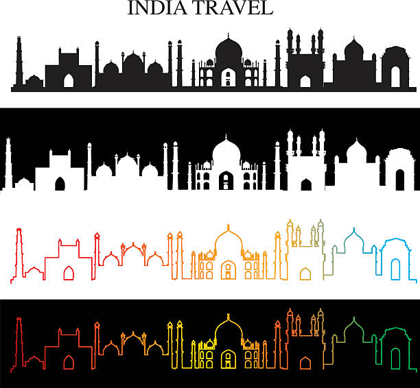 india skyline - varanasi stock-grafiken, -clipart, -cartoons und -symbole