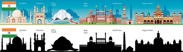 india skyline - mysore stock-grafiken, -clipart, -cartoons und -symbole