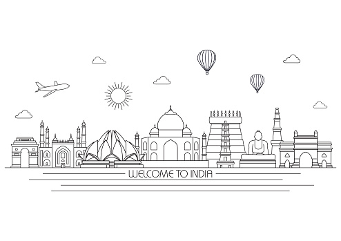 India skyline. Vector line illustration. Line style design