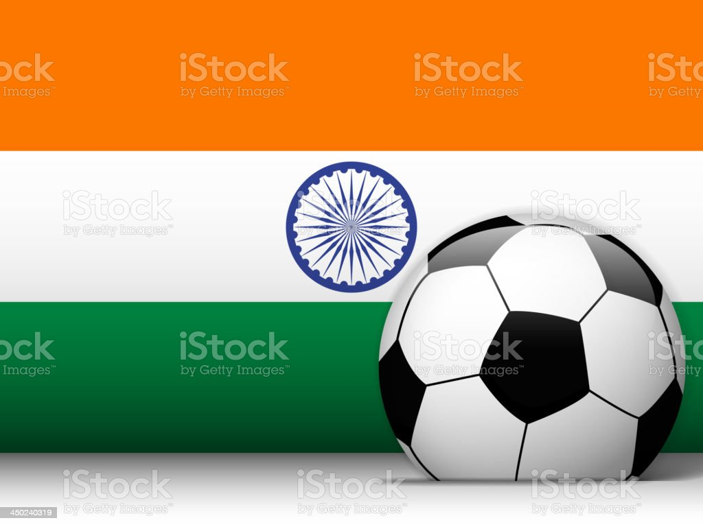 India Soccer Ball with Flag Background royalty-free stock vector art