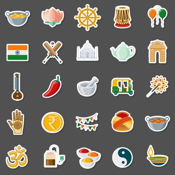 India Sticker Set A set of flat design sticker icons. File is built in the CMYK color space for optimal printing. Color swatches are global so it's easy to edit and change the colors. tavla stock illustrations